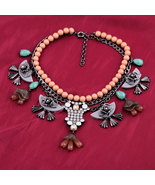 Beaded Exaggerated Black Flower Pendant All-match Female Personality Nec... - $30.88