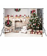 7x5 ft Christmas Tree Backdrop Photography White Brick Fireplace for New... - $108.17+