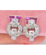 VINTAGE RETRO .75ctw ROSE DIAMOND RUBY 18K PLATINUM CLIP HUGGIE EARRINGS... - £1,778.48 GBP