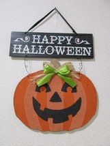 "Halloween HAPPY HALLOWEEN Pumpkin Hanging Wall Sign Door Plaque Decor 18"" - $15.99"