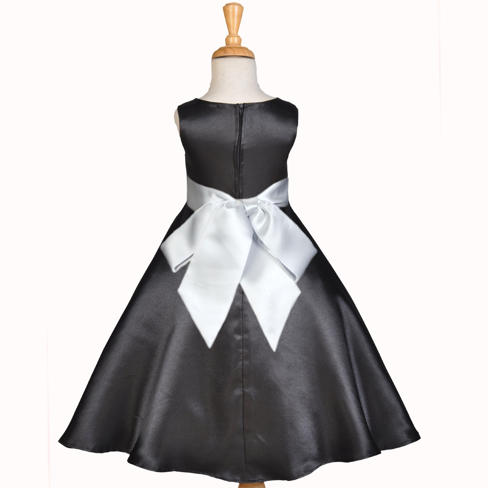 Black A-Line Satin Flower Girl Dress Pageant Wedding Bride Recital Toddler 821s