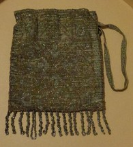 Antique 1920 Beaded Draw String Closure Evening Bag - Very Small Size - Gorgeous - $69.29