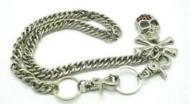 Red Clear Rhinestone Skull Cross Bones Silver Tone Chain Link Belt - $19.79