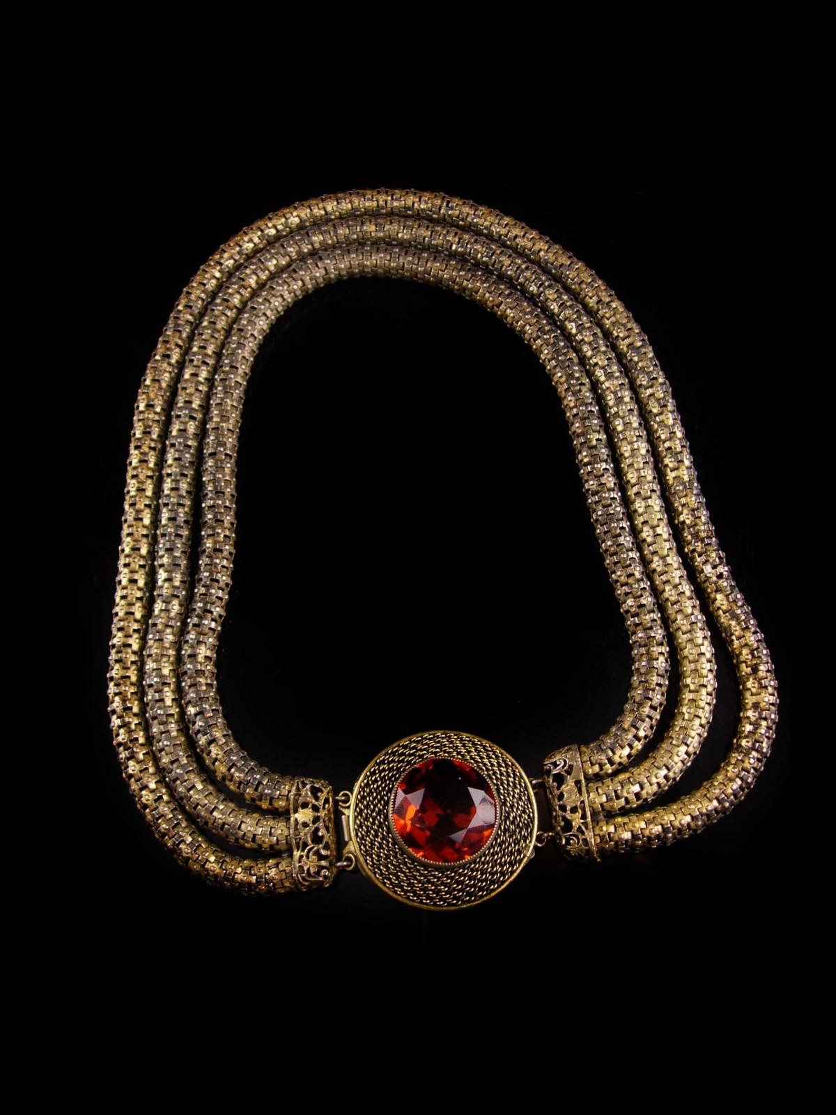 Antique Mesh Rope Necklace - 3 strand golden topaz centerpiece -  rhinestone sna