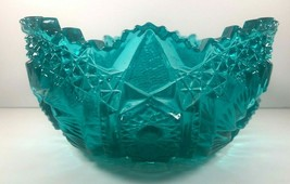 LE Smith Comet in the Stars Aqua Teal Green Carnival Glass Bowl - $49.50
