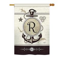 "Nautical R Initial - 28"" x 40"" Impressions House Flag - H130200 - $36.87"
