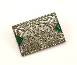 Vintage Initial Letters CMD Marcasite Pin/Brooch 935 Sterling BB 215 - $34.06