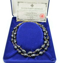 Camrose Kross JBK Faux Black Tahitian Pearls Necklace Gold Tone COA NIB - $98.99