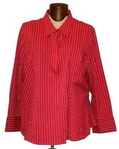 Lane Bryant Womens Button Down Long Sleeve Shirt Plus Size 26/28 Red Plu... - $14.99