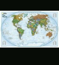 """2014 WORLD WALL MAPS POSTERS MURALS - by NATIONAL GEOGRAPHIC 20x32"""" - $8.59"""