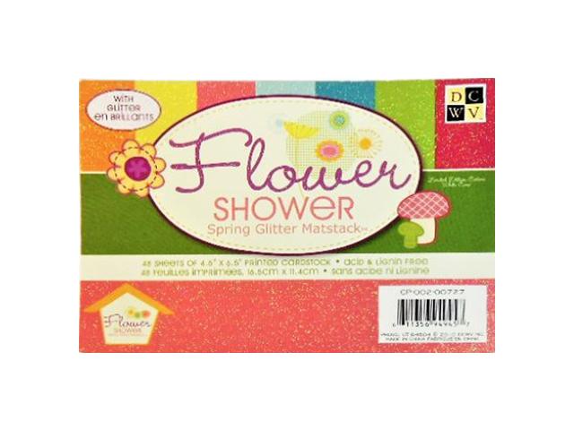 DCWV Flower Shower Spring Glitter Matstack Cardstock #CP-002-00727
