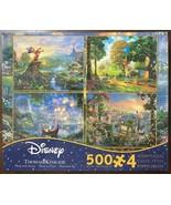 Disney 500 pcs 4 in 1 Puzzle by Thomas Kinkade - Pooh Fantasia Tangled T... - $23.27