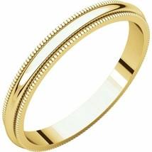 Fine 10k Yellow Gold 2 mm High Polished Traditional Milgrain Wedding Rin... - $55.44+