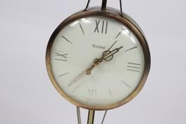 Vintage 70s Mid Century Modern MCM Eagle Brass Wood Table Mantel Clock U... - $79.15
