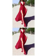 Cheap V-Neck Burgundy Chiffon Long Prom Dress Simple Women Party Gowns A... - $103.55