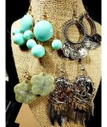 Fashion Lot of 4 Gold & Silver Tone metal Chandelier dangle Charm Earrings  - $25.74