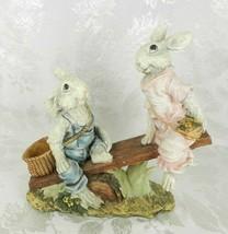 Chrisdon Rabbits Resin Figurine Teeter Totter Seesaw Boy & Girl Bunnies ... - $49.49