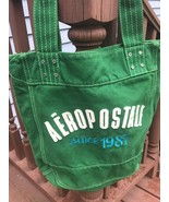 Aeropostale Green Cotton Canvas Tote Large Bag School Shopping Raised Le... - $15.83