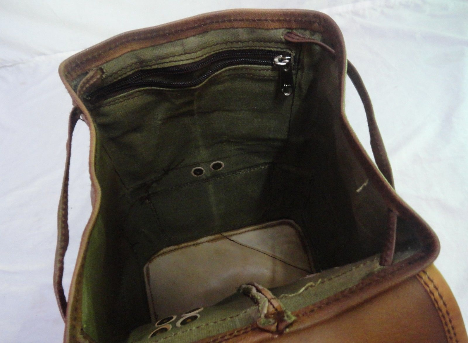 "13"" High Vintage Leather Rucksack Handmade Backpack Shoulder Bag Book Bag image 6"