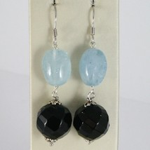 925 STERLING SILVER PENDANT EARRINGS WITH FACETED BLACK ONYX AND OVAL AQUAMARINE image 1