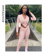 BOOFEENAA Sexy Long Sleeve Two Piece Set Crop Top Hoodie and Stacked Pan... - $36.68