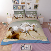 3D White Horse 26 Bed Pillowcases Quilt Duvet Single Queen King US Summer - $102.84+