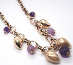 Silver necklace 925, Pink, amatista Purple, Peppers Curved pendants image 4