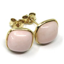 18K YELLOW GOLD BUTTON LOBE EARRINGS, CABOCHON SQUARE PINK OPAL DIAMETER 10mm image 2