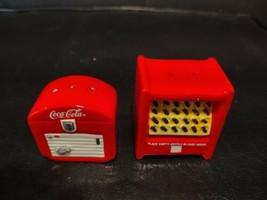 Vintage NOS Coca-Cola Ceramic Old Vending Machine Coke Salt & Pepper Sha... - $29.77