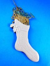 Lenox China Christmas Stocking HolidayTree Ornament Gold Filigree Detail... - $13.85