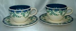 Lot (2) Pfaltzgraff Portfolio Sylvan Court Leafy Blue Coffee Cup & Saucer Sets - $14.60