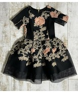 Zoe Ltd. Black Mesh Floral Embroidered Fit Flare Gown Dress sz 12 - $100.00