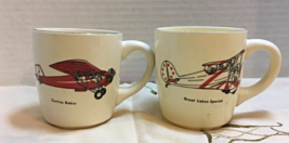 Set of Two Sportsman Mug Vintage Coffee Cups Airplane Aviation Made in USA - $12.00