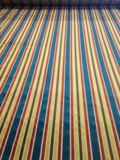 7 yds Cut Velvet Upholstery Fabric Federal Stripe Blue Red Gold Brown OP-c7