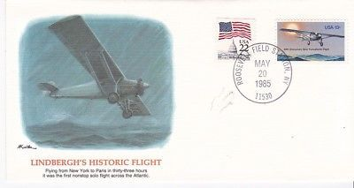 LINDBERGH'S HISTORIC FLIGHT ROOSEVELT FIELD NY MAY 20 1985
