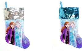 2 Disney Frozen II Stocking Hanging Loop  Elsa Ana Sequence Silver Purple  - $17.99