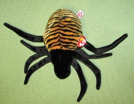 Ty Beanie Buddies Spider BABY SPINNER 1999 Black Tan Striped HEART TAG P... - $9.50