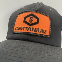 Vintage Certanium Black Snapback Company Logo Patch Hat Made In USA Cap image 2