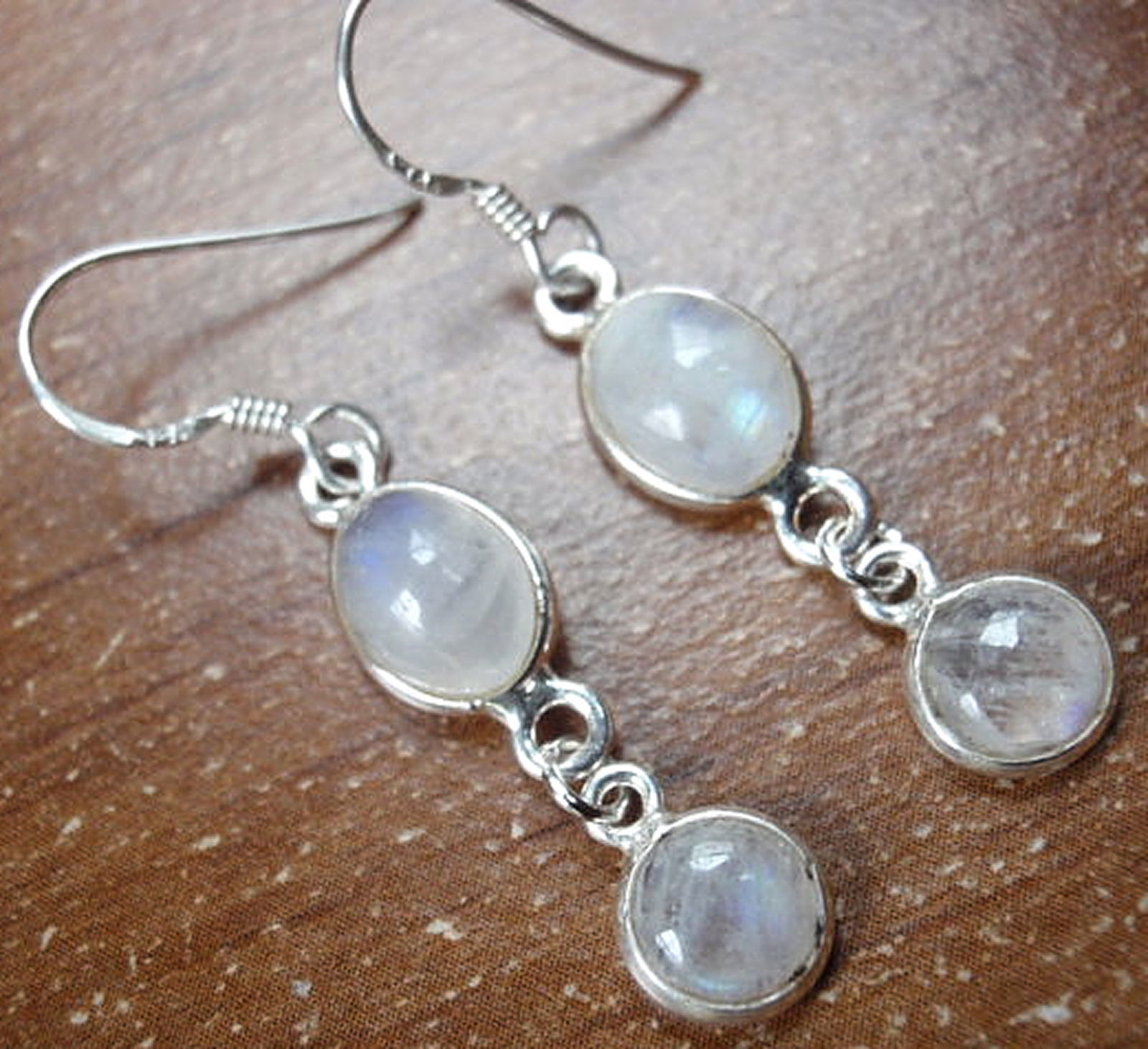 Primary image for Moonstone Dangle Earrings 925 Sterling Silver Double Gem Corona Sun Jewelry 771r