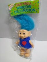 Love Troll Vinyl Doll Blue Hair Red Heart 1970s Sealed Vintage Window De... - $26.68