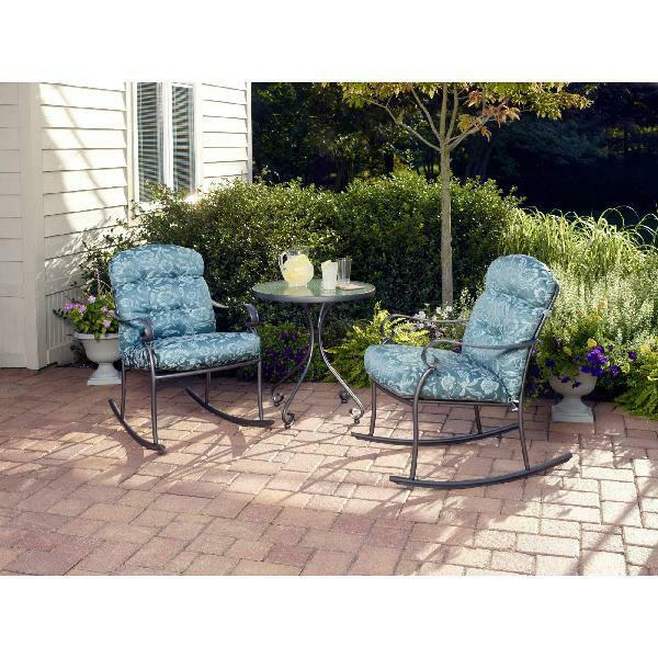 Outdoor Bistro Set 3 Pcs Willow Springs Rocking Relax Comfort Chair Modern Decor