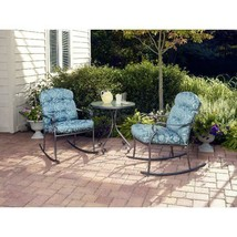 Outdoor Bistro Set 3 Pcs Willow Springs Rocking Relax Comfort Chair Mode... - $264.09