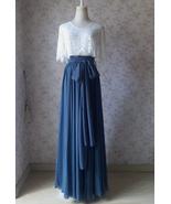 Dusty Blue Full Maxi Skirt Dusty Blue Chiffon Bridesmaid Skirt Wedding O... - $68.99+