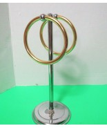 "Bath Counter Chrome Metal 2 Ring Pedestal Towel Ring Holder 12"" Tall - $10.00"