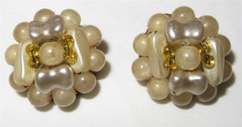 Vintage c1940 Luster Lucite Cluster Button Earrings Signed Hong Kong Han... - $8.70