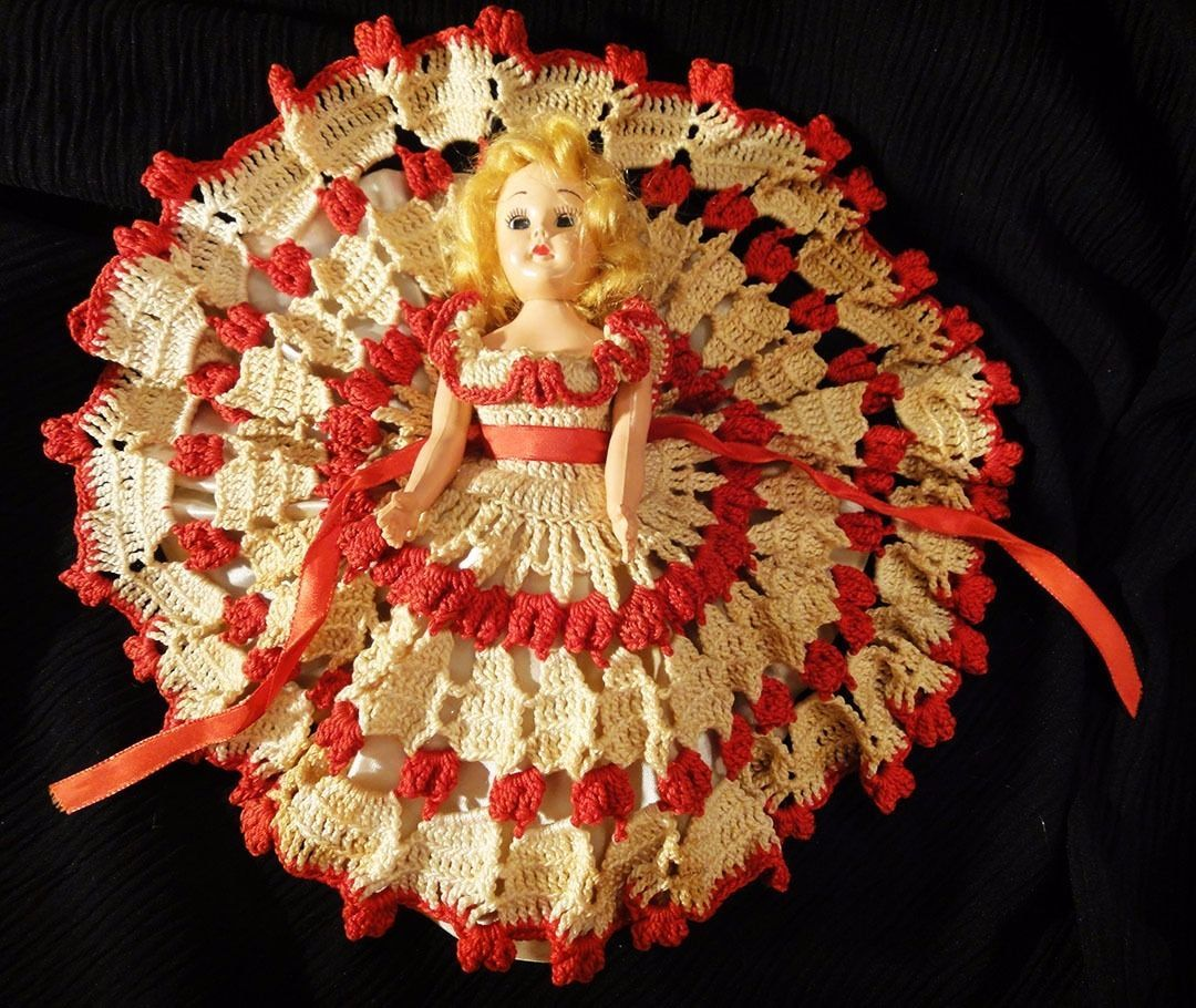 "Primary image for Vintage red crocheted dress and 8"" storybook doll w/petticoat, crochet bloomers"