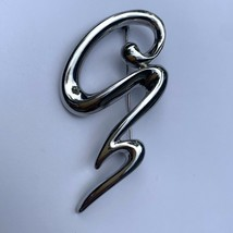 Vintage Shiny Silver Tone Modernist Swirl Brooch Pin Abstract Artsy Unsi... - $19.75