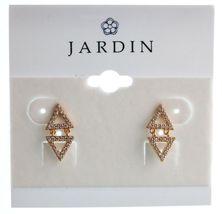Jardin or Jaune Plaqué Pierre Zircone Mini Double Triangles Boucles Nwt image 4