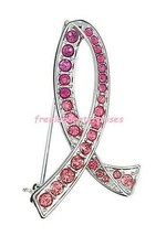 Breast Cancer Pink Hope Ombre Ribbon Pin Silvertone & Pink  ~ Size 1 3/4... - $9.85