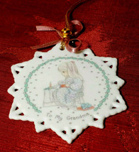 1991 Precious Moments To My Grandma Snowflake Christmas Ornament Gift Tag - $5.99